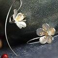 AKOYW O novo dama da moda esterlina flores de prata brincos temperamento franjas flores em flor longos brincos de prata jóias