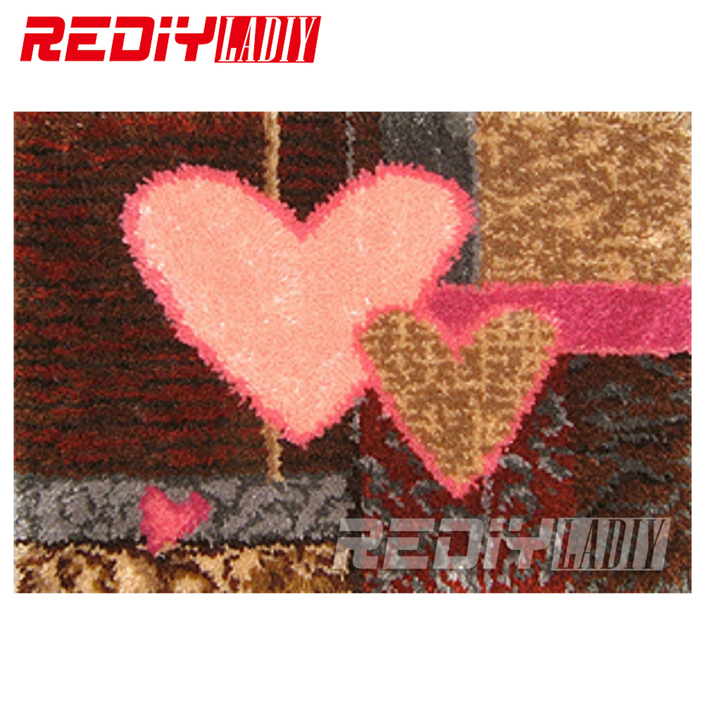 Latch Hook Rug Wall Hanging Crocheting Tapestry Pink Heart Cushion Kits for Embroidery Home Carpet DIY