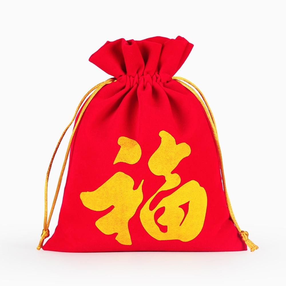 10*12cm Chinese Style Letter Packaging Pouch Velvet Bag Custom Logo Print Drawstring Box Wedding Christmas Bag
