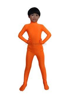 Traje Zentai de LICRA Unisex sin cabeza para niños traje de baile mono Catsuit naranja