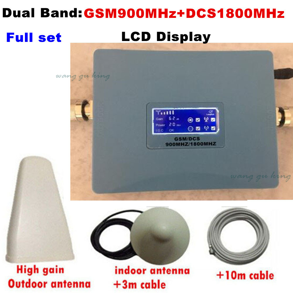 LCD Display Dual Band 4G DCS 1800MHz + 2G GSM 900Mhz Mobile Phone Signal Booster GSM 900 DCS 1800 Signal Repeater Amplifier 1SetLCD Display Dual Band 4G DCS 1800MHz + 2G GSM 900Mhz Mobile Phone Signal Booster GSM 900 DCS 1800 Signal Repeater Amplifier 1Set
