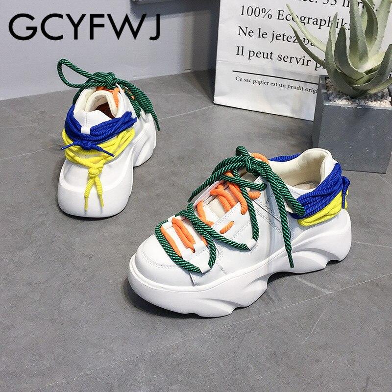 Mode Décontractées Lacets Colorée Nouveau White Dames Petites Chaussures Chaussure Femmes Gcyfwj De Plate Cuir forme 2019 Blanches Style En Papa wBac7OqX