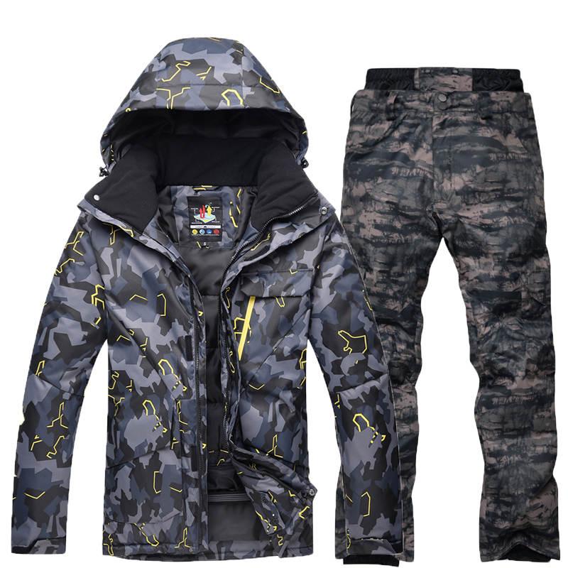 10 K Camouflage Pour Hommes Ski Costume Ensemble Spécial Snowboard Costume Vêtement Imperméable Respirant Costume D'hiver Costume Veste + Pantalon