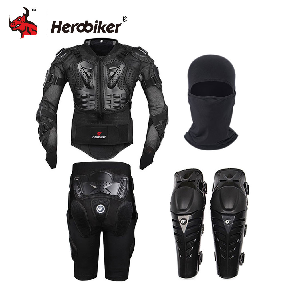 HEROBIKER Motorcycle Jacket Motocross Racing Full Body Armor Gears Short Pants Motocycle Knee Pad Motorcycle Protective