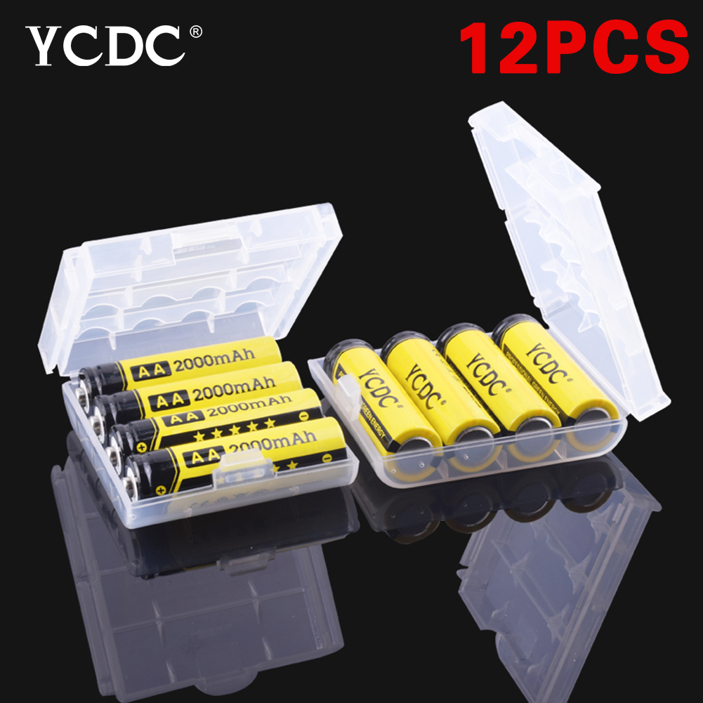 YCDC 2018 New 50x14.5mm AA battery 1.2V 2000mAh Ni-MH Yellow Rechargeable Battery Cell For Game Machines/toys x 12