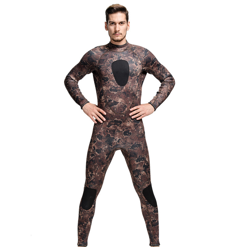 3MM Rubber Leopard Long-sleeved Wetsuit Warm Winter Swimming Jellyfish Piece Swimsuit Thickened Material Safety Clothing Swim
