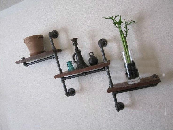 Industrial Rustic Urban Iron Pipe Wall Shelf 3 Tiers Wooden Board Shelving Home water pipe bookshelf wood flower shelf furniture