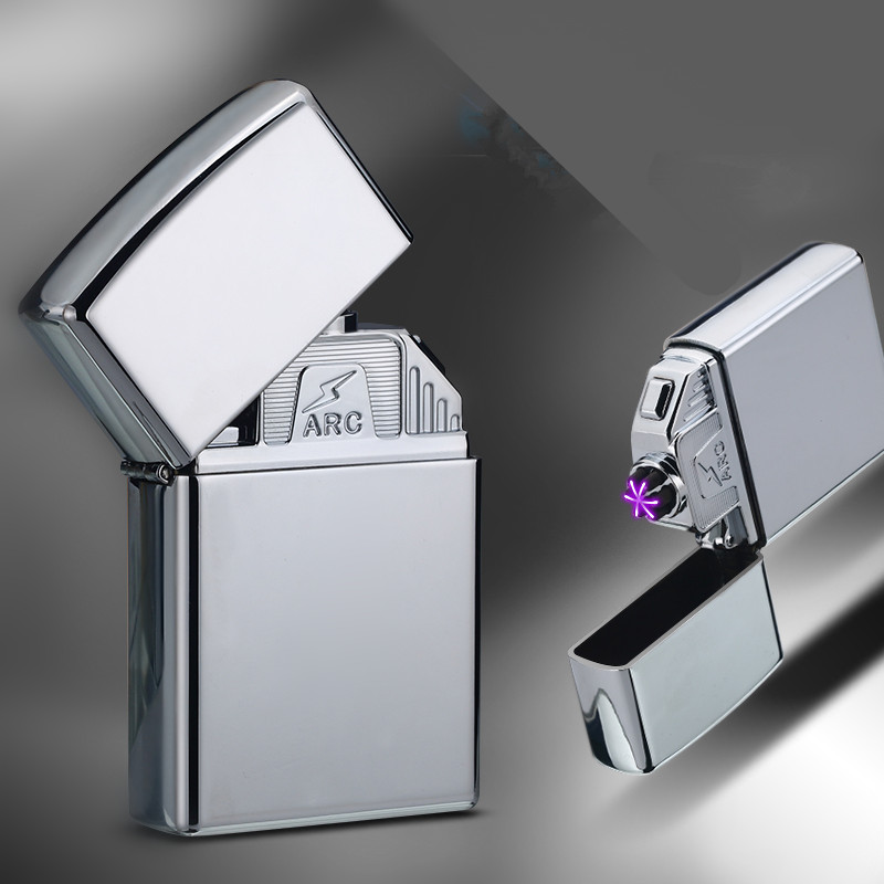 Double Arc Lighter Windproof Electronic USB Recharge Lighter Cigarette Smoking Electric Lighter