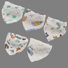 5 Pieces/lot Baby Bibs Girls Boys Baby Cloth Cartoon Print Baby  Feeding Bandana Bibs Cotton Yarn Bebe Accessory Infant as gift