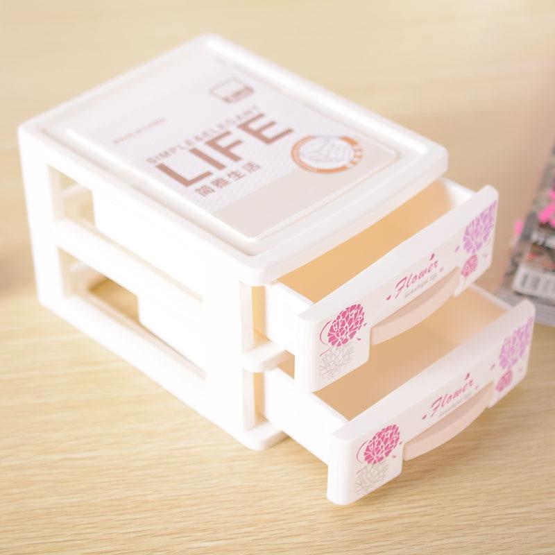 Hot Printed Make Up Organizer 2 Drawers Storage Box Clear Plastic Cosmetic Storage Box Organizers Household Jewelry Dress Bag