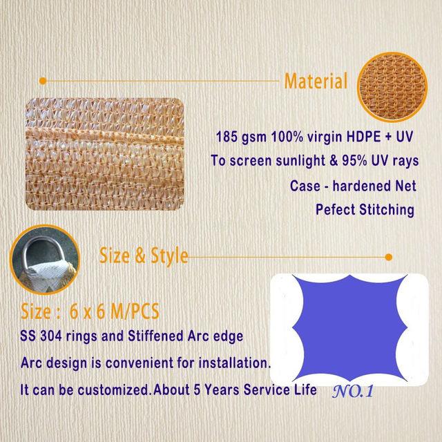 6x6 M/pcs Personnalisé Commerciale Carport Carré Shde Voile 95% UV ...