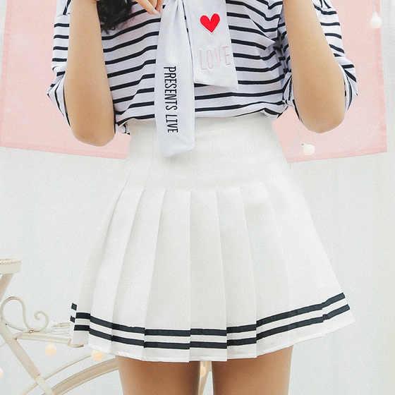 fe0ac7c8a 2019 Mini faldas plisadas Mini Shorts de cintura alta blanco A-Line faldas  cortas uniformes falda escolar pantalones cortos para mujeres Saias