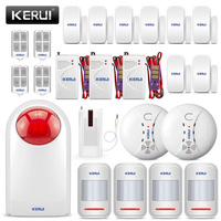 KERUI Waterproof Security Alarm System Flash Siren Strobe Light Siren Smoke Alarm + Leakage detector Burglar Door Sensor Alarm