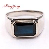 Xin yi peng 18 k white gold inlaid 5.5 carat natural sapphire ring, men's ring