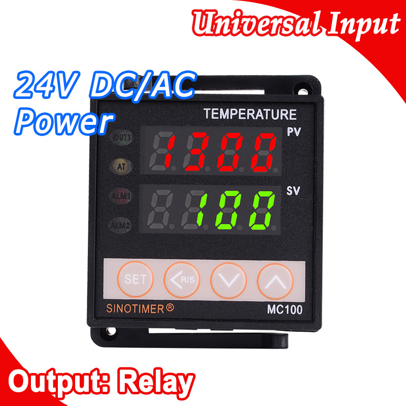 Digitale PID-TEMPERATUURREGELAAR REGULATOR Thermostaat in voeding 24V DC AC, thermokoppel K J E PT100 sensoringang, relaisuitgang