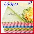 200pcs 14x14cm Colorful glasses Lens Eyeglasses eyewear microfiber cleaning cloth Free Shipping