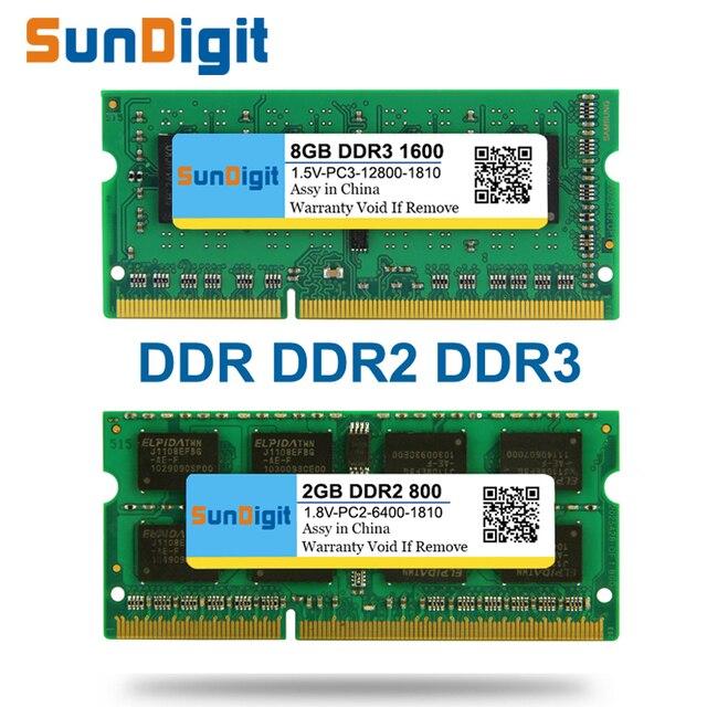 Бренд sundigit оперативной памяти ноутбука ddr1 DDR2 DDR3 400 мГц 800 мГц 1333 мГц 1600 мГц 8 ГБ 4 ГБ 2 ГБ 1 ГБ 512 МБ для Тетрадь sodimm Мемория