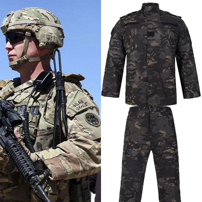 WZJP HOT Tactical Multicam Black Military Uniform Camouflage Suit Tatico Military Camouflage Airsoft Paintball Equipment Clothes