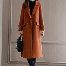 2019 Autumn Winter Wool Blend Coat Women Long Sleeve Turn-do