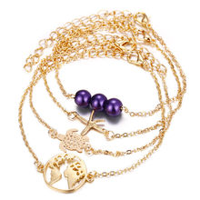 4Pcs/set Tortoise Starfish Map Beads Bracelet Set for Women Bohemian Multiple Gold Handmade Bangle Bracelets Beach Jewelry