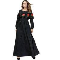 2019 Fashion Spring Autumn Women Dress O Neck Long Sleeve Plus Size 4XL Ruffled A Line Black Embroidery Dress Long Flower Dress