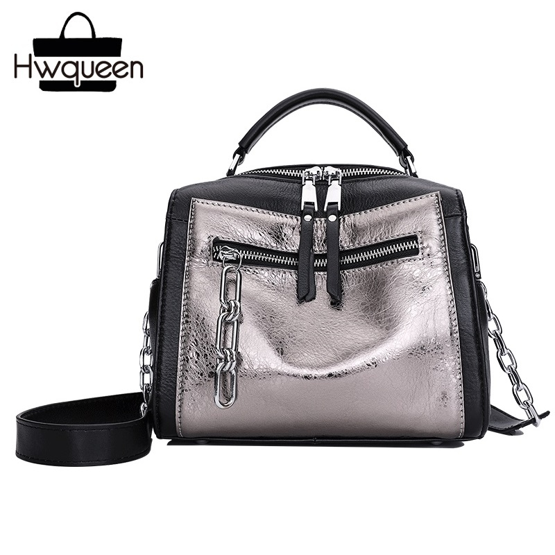 Punk Style Genuine Cow Leather Wide Strap Lady Boston Purse Modern Metallic Color Woman Chain Handbag Female Small Shoulder Bag