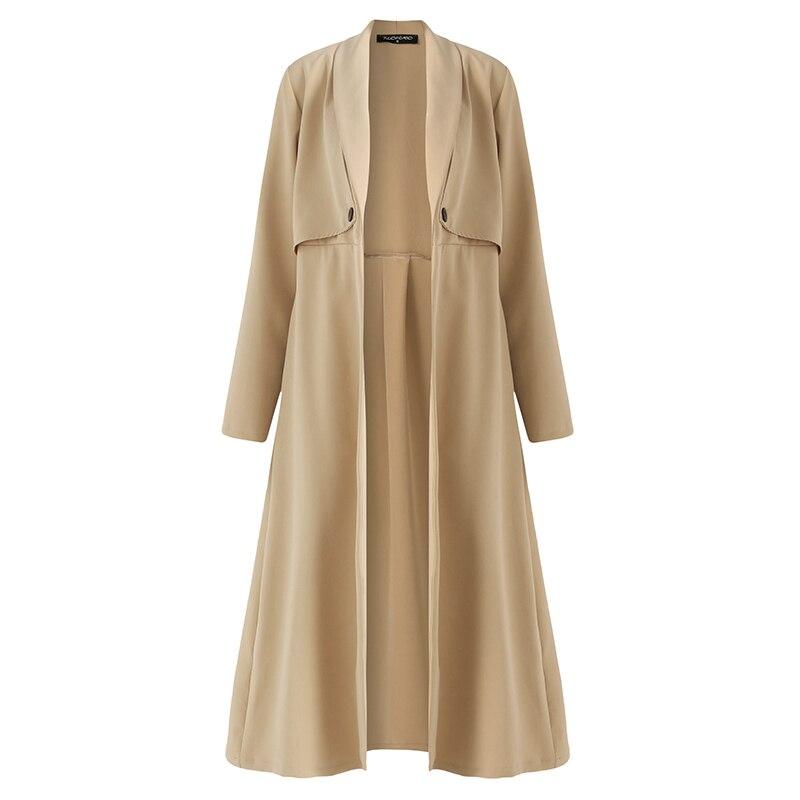 2018 Autumn Winter Women Long Sleeve Trench Coat Open Front Casual Work Office Lady Elegant Long Outerwear Windbreaker Plus Size