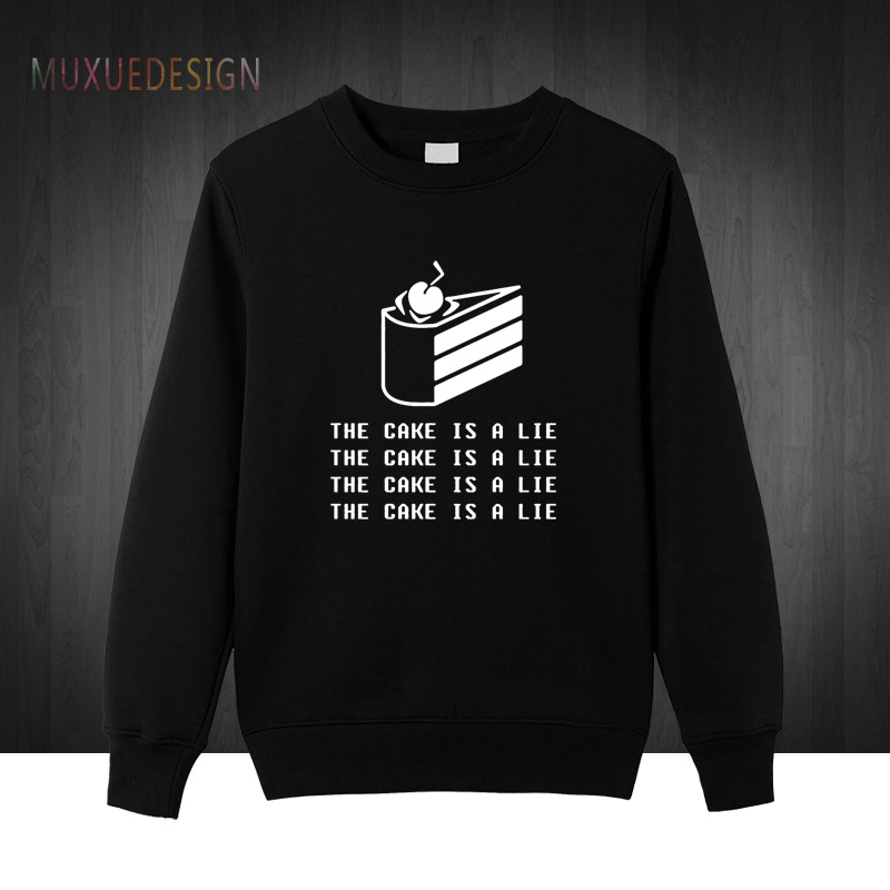 Fashion New Portal 2 Sweatshirts Mens Cotton Game Sweatshirt The Cake Is A Lie Men Pullover Man Hoodies Winter Autumn