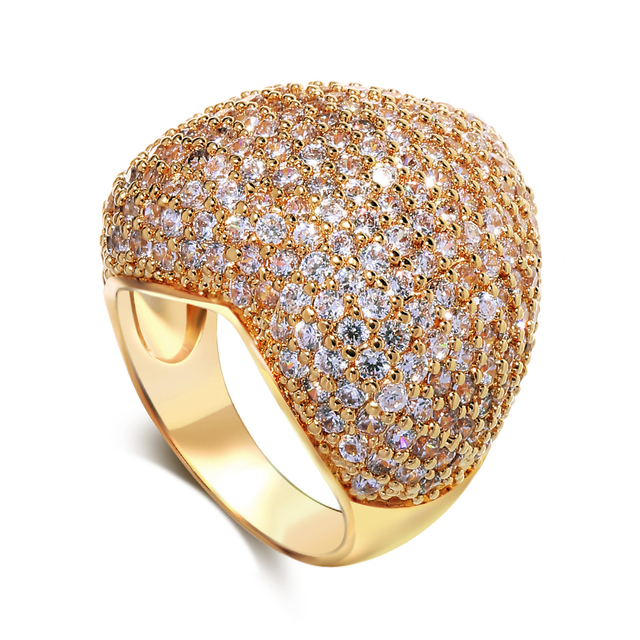 Rings Heart gold plated with cubic zirconia ring copper material fashion jewelry new year gift Free shipping
