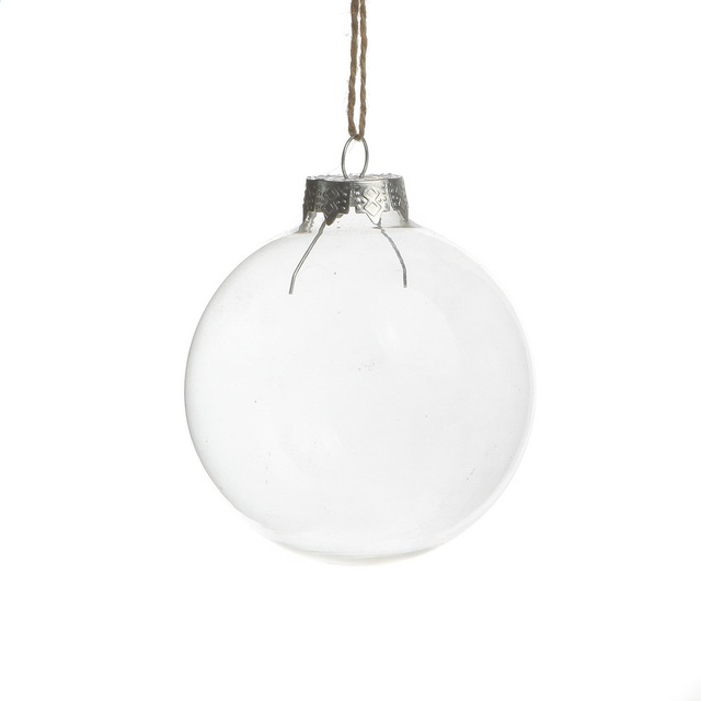 Free Shipping Christmas Ornaments 80mm Clear Glass Balls with silver top,  Wedding Memory