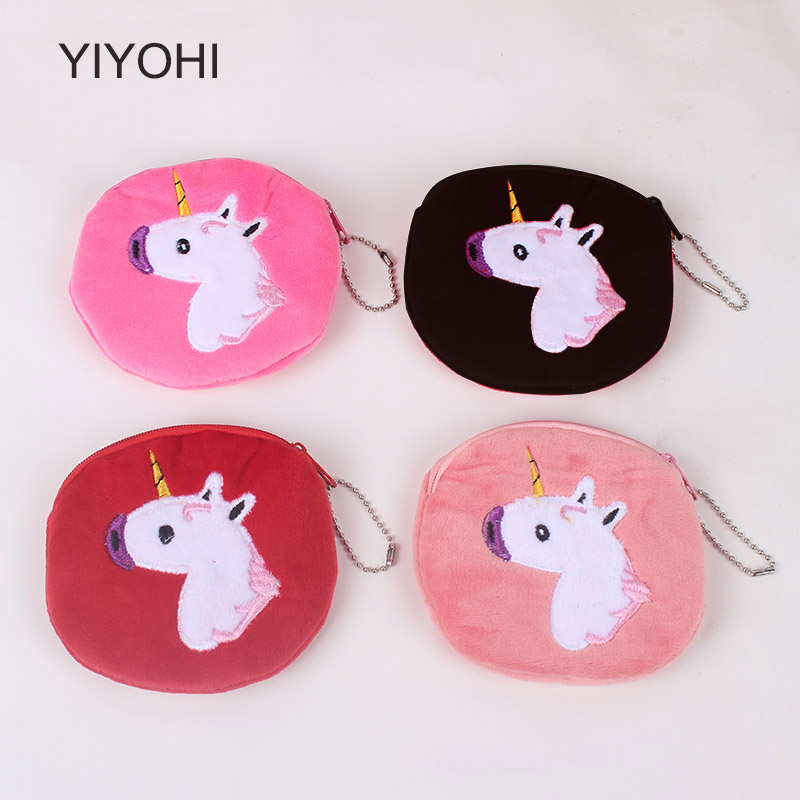 YIYOHI New Cute Style Colorful Unicorn Girls Zipper Plush Coin Purse Kawaii Children Coin Purse Women Wallet Mini Handbag