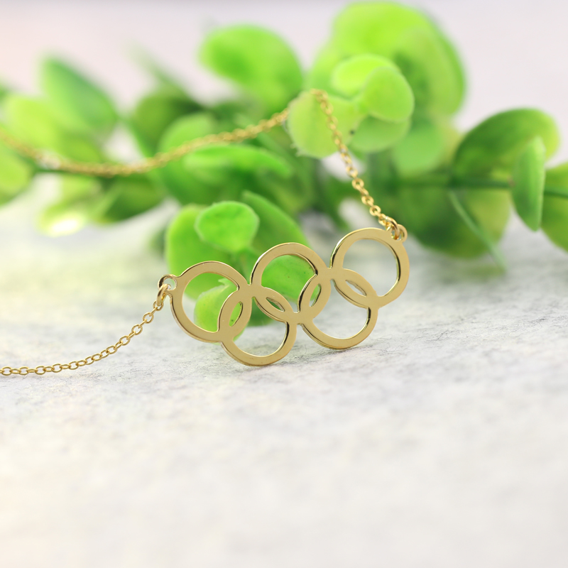 Golden Five Circles Olympics Necklace 925 Solid Silver Olympics Games Souvenir Jewelry Wholesale Collar De Nombre