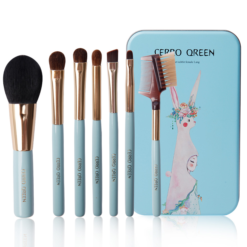 7 Pcs Makeup Brushes Brush Make-up Tools Set Cosmetic Brush Set Eye Shadow Brushes With Iron Box