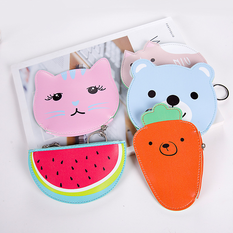 New Cat Purse Pu Leather Zipper Wallet Women Coins Purses Cute Carrot Watermelon Hand Holding Coin Bag With Key Ring Pouch