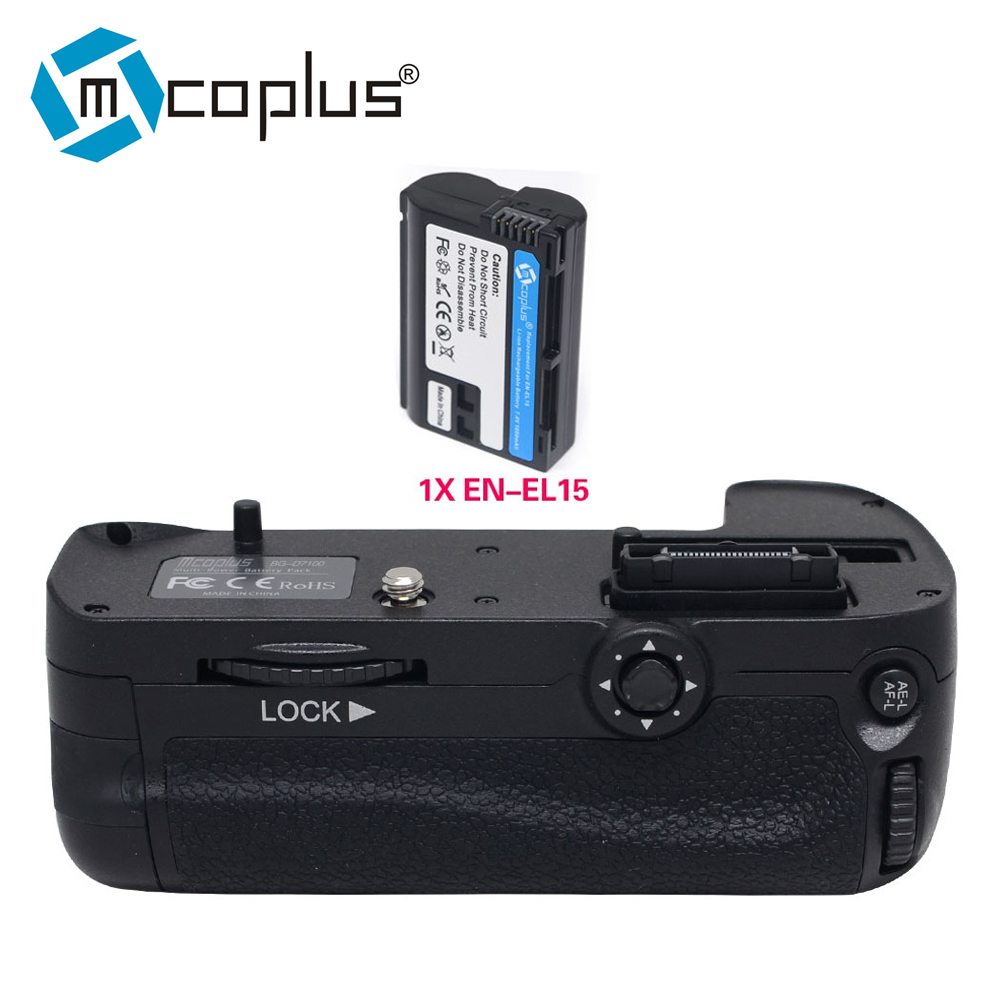 Mcoplus Venidice D7100 Multi-function Vertical Battery Grip with 1x EN-EL15 for Nikon DSLR D7100 D7200 Camera replace as MB-D15 travor battery grip holder for nikon d7100 d7200 dslr camera replacement mb d15 1pcs en el15 li ion battery 2pcs lens cloth