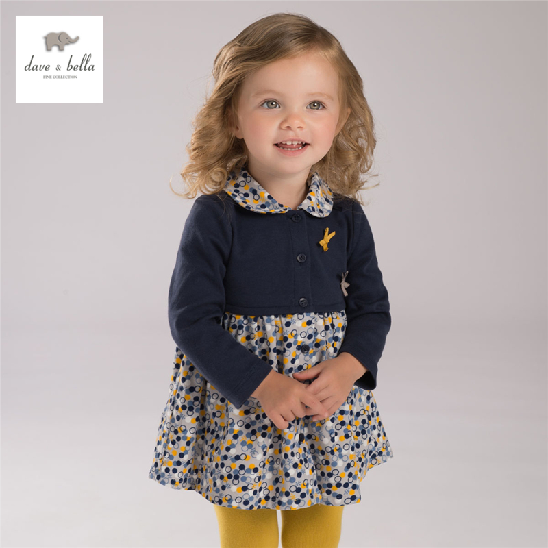 DB3949 dave bella autumn  girl printed dress baby clothes infant clothes girls dots dress toddle dress db5498 dave bella baby girl lolita dress stylish printed peter pan collar dress toddler children dress