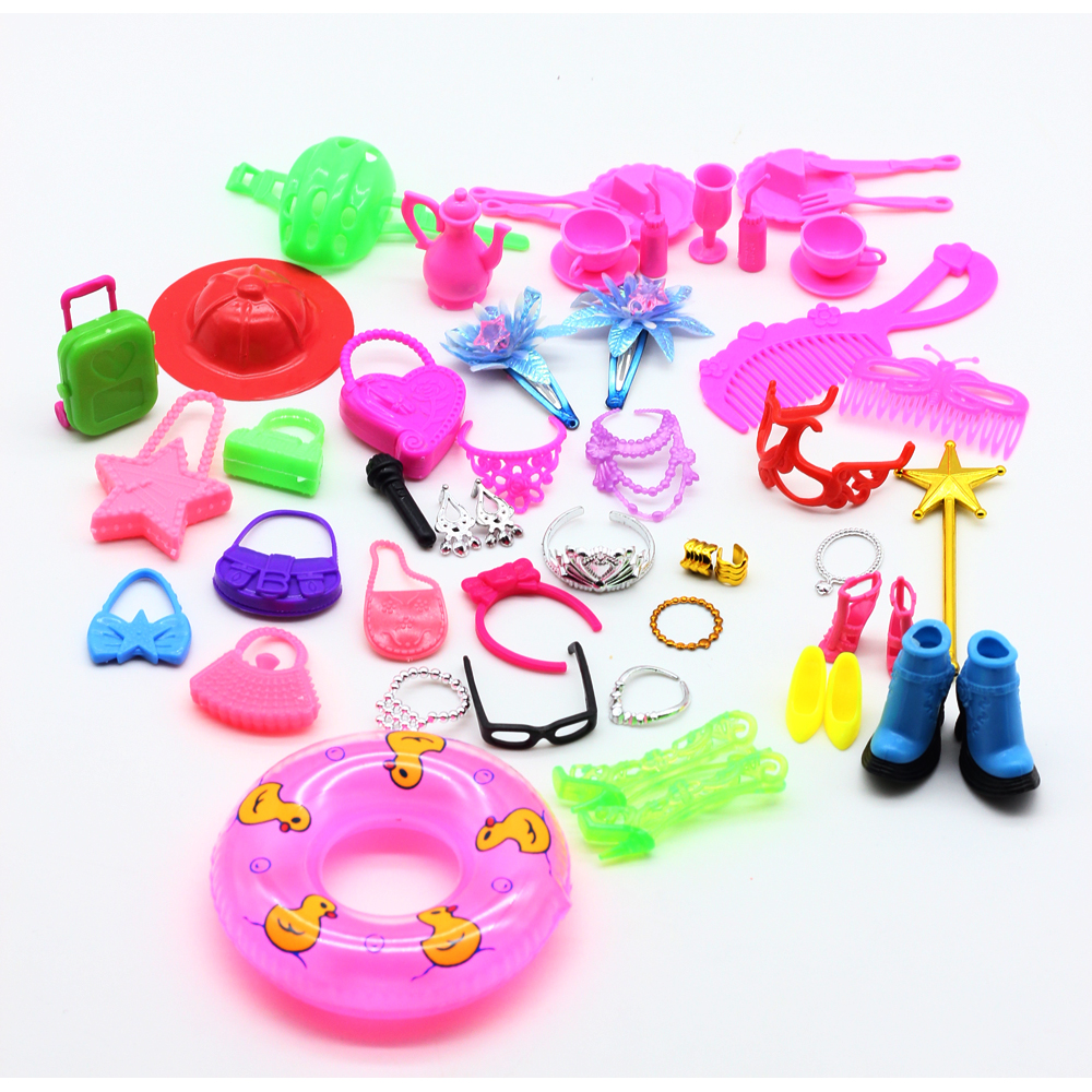 50pcs doll accessories (Bags,Glasses,Tableware,earphone, Necklace,Combs,Shoes,Swimming laps ) for barbie doll girl toy es024