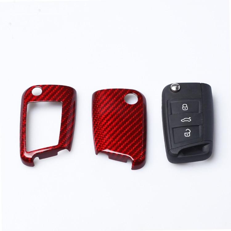 Car Accessories Carbon Fiber Car Key Cover Shell For VW Golf 7 MK7 Skoda Octavia A7 Seat Leon Ibiza Flip Folding Remote Key Case
