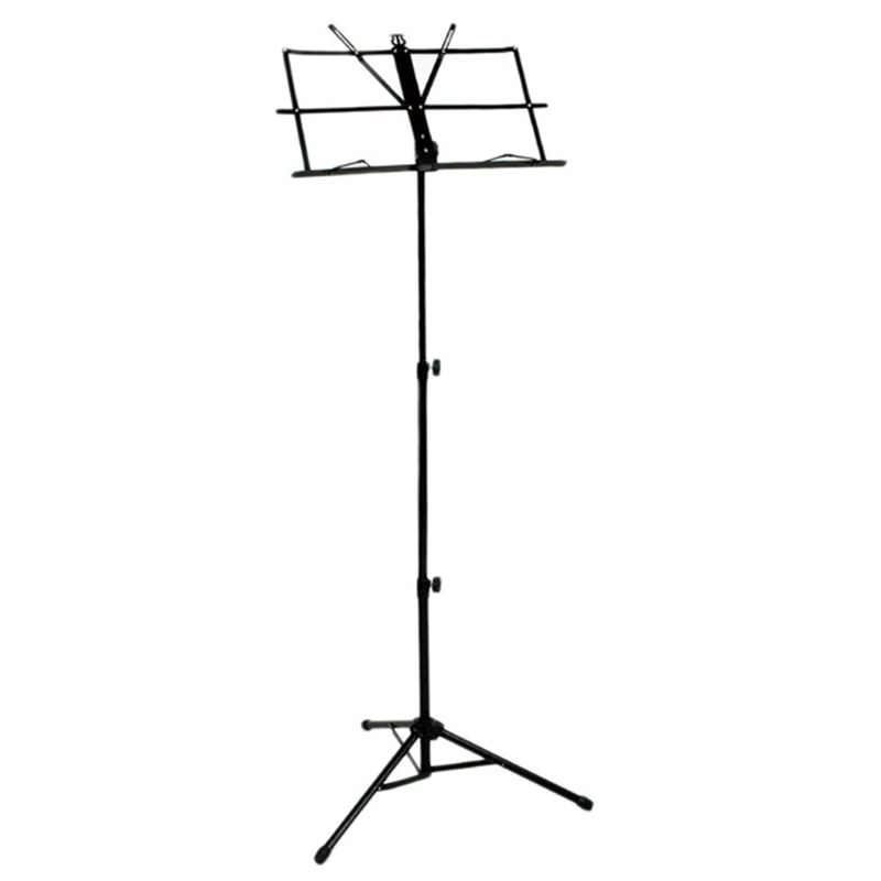 Folding Sheet Music Iron Holder Stand With Bag (Color: Black)