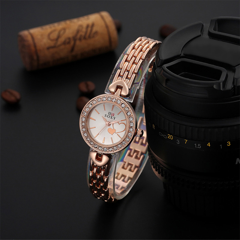 SOXY Fashion Rose Gold Watch Women Watches Luxury Rhinestone Bracelet Wrist Watch Ladies Watch Hour relogio feminino reloj mujer new luxury rhinestone watch women watches ladies watch girl cute bracelet watches hour montre femme relogio feminino reloj mujer