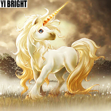 Diamond Painting Cartoon Needlework Full Golden Unicorn Embroidery Cube Drill Decorate Rhinestones Childrens Gifts GT