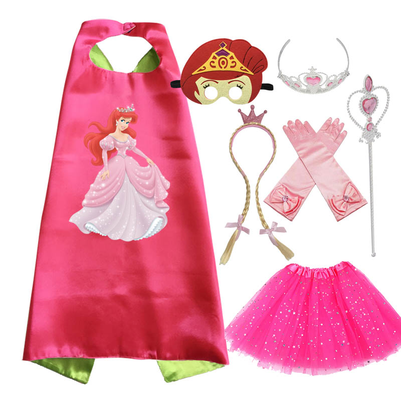 Little Mermaid Costume Birthday Outfit Cape Mask Tiara Wand Glove Braid Birthday Party Cosplay Dress