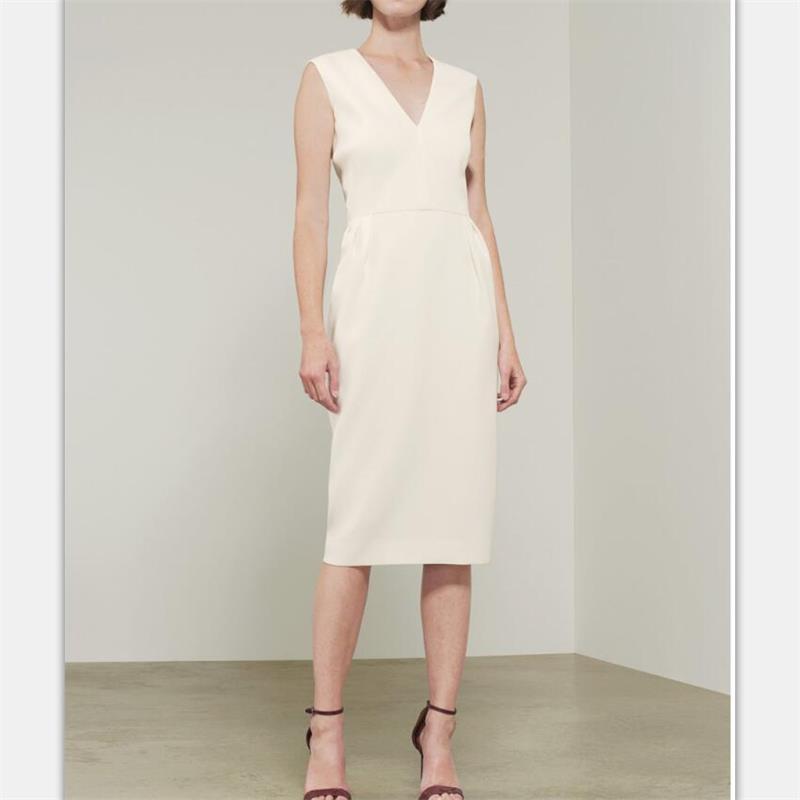 Women Runway Dress 2019 High Quality V neck Sleeveless Pencil Dresses Casual Dress NP0223J