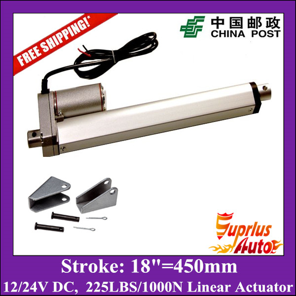 Free Shipping 18inch/450mm 12v linear actuatorr, 1000N/100kgs/225lbs load electric linear actuators with mounting brackets free shipping 16inch 400mm 24v 12v linear actuatorr 1000n 100kgs 225lbs load linear actuators with mounting brackets