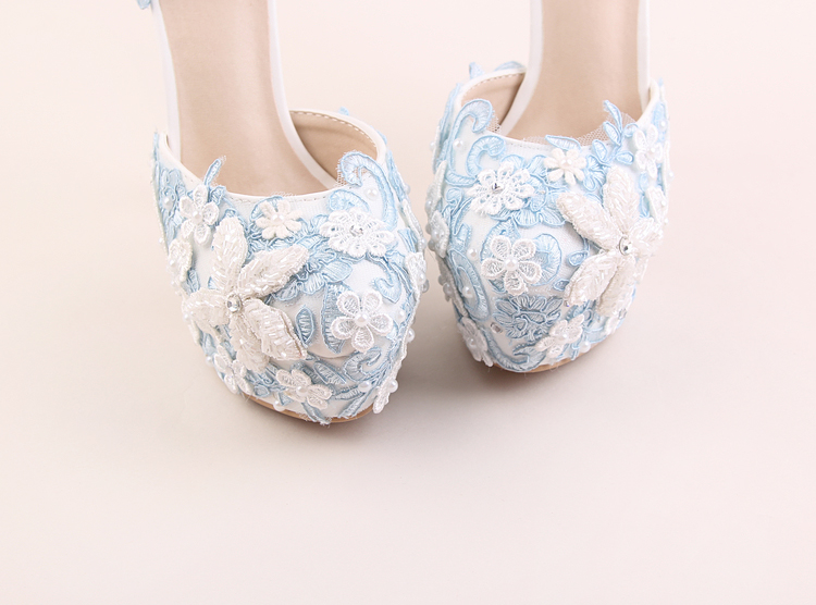 Wedding Shoes Light Blue Lace Pearls Flower Round Toe Bride Pumps Buckle  Strap Super Higher 14cm Heels Ladies Sandals Hand Made-in Women s Pumps  from Shoes ... 7afb4a6c0026
