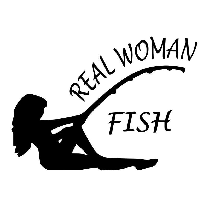17.8CM*12.9CM Real Women Fish Bass Fishing Sticker Bass