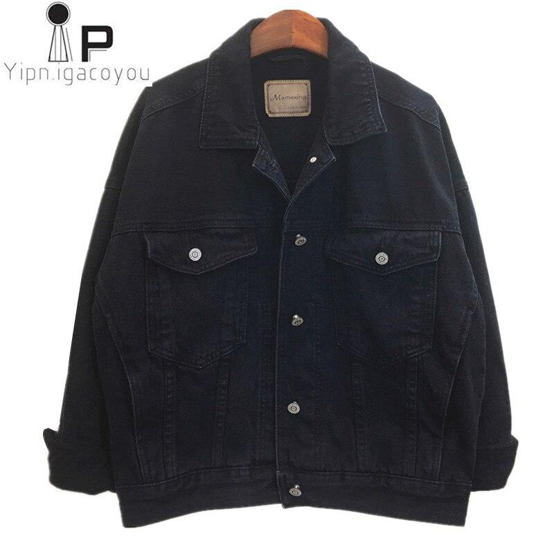Korean Autumn Black Denim jacket Women 2019 Big size Ladies Vintage Short Jeans Jacket Female Harajuku