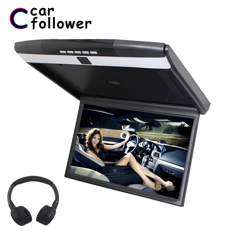 17.3 Inch Ceiling Flip Down MP5 Monitors Support HD 1080P IR/FM Transmitter USB SD HDMI Built-In Speaker/Microphone Car TV