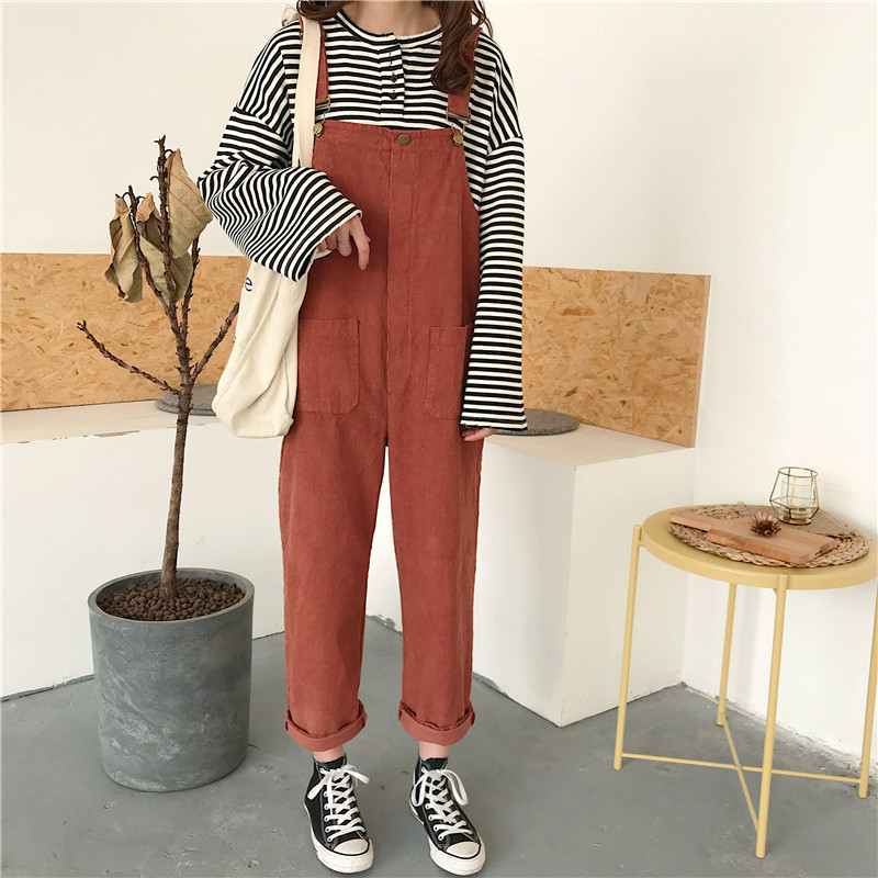 Women Casual Japanese Cute Corduroy Orange Black Rompers Overalls Female   Jumpsuits   Spring Harajuku Fashion Harlan Pants