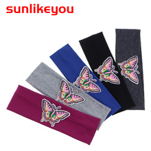 Sunlikeyou 2019 Hair Bands For Girls Newborn Cotton Soft Elastic Kids Baby Butterfly Embroidery Turban Baby Headbands sunlikeyou baby headband butterfly girls embroidery hair bands for girls kids headbands turban newborn baby hair accessories